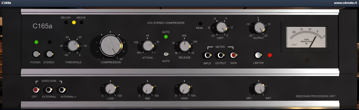 C165a – VCA compressor with saturating limiter – Punch, sustain, drive